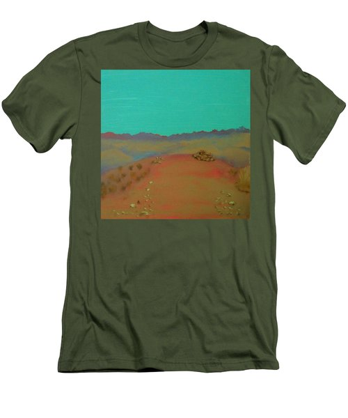 Men's T-Shirt (Slim Fit) featuring the painting Desert Overlook by Keith Thue