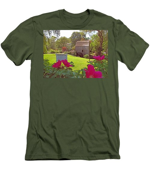 Men's T-Shirt (Slim Fit) featuring the photograph Dexters Grist Mill Two by Barbara McDevitt