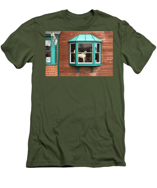 Dog In Window Men's T-Shirt (Athletic Fit)