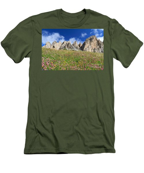 Men's T-Shirt (Slim Fit) featuring the photograph Dolomiti - Flowered Meadow  by Antonio Scarpi