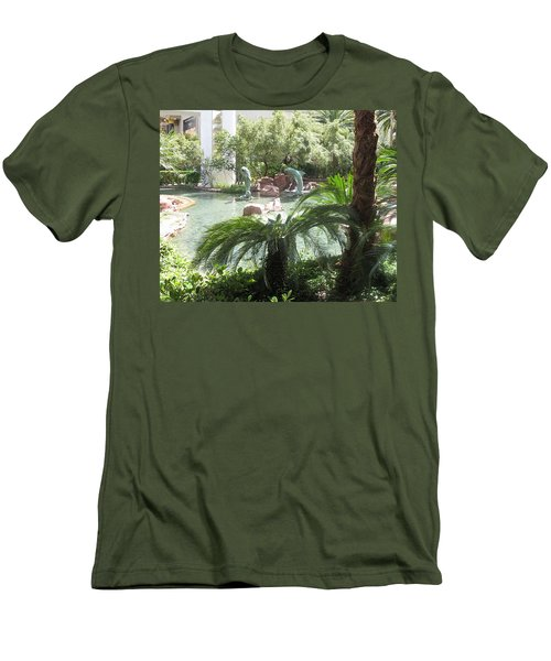 Men's T-Shirt (Slim Fit) featuring the photograph Dolphin Pond And Garden Green by Navin Joshi