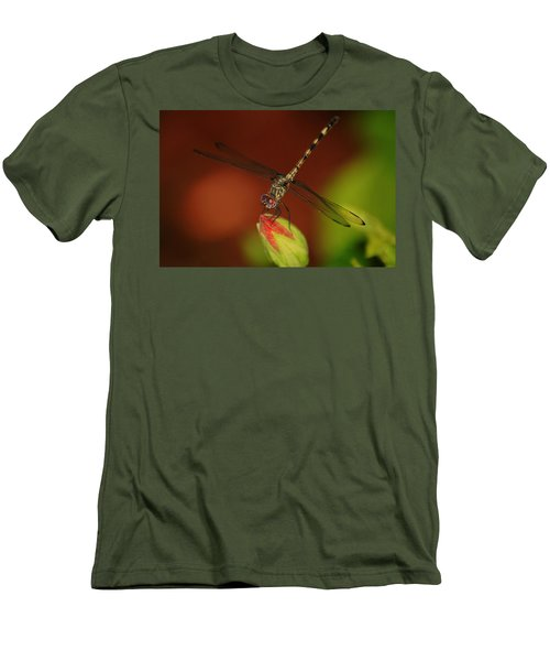 Men's T-Shirt (Slim Fit) featuring the photograph Dragonfly On Hibiscus by Leticia Latocki
