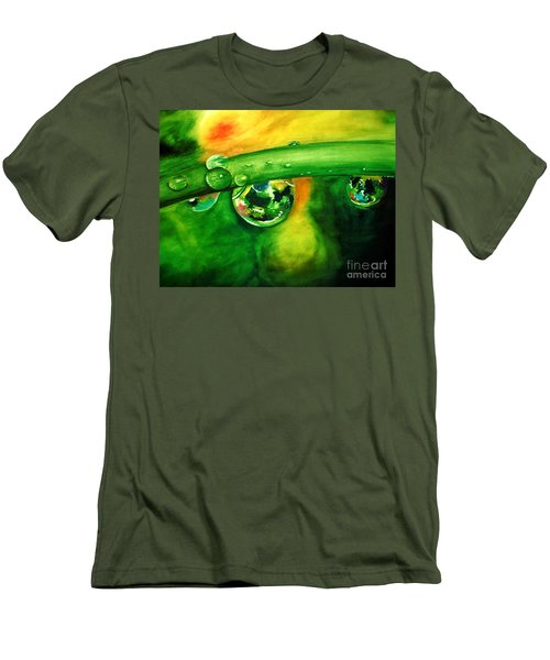 Men's T-Shirt (Slim Fit) featuring the painting Droplets by Allison Ashton