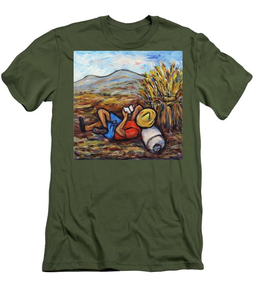 Men's T-Shirt (Slim Fit) featuring the painting During The Break by Xueling Zou