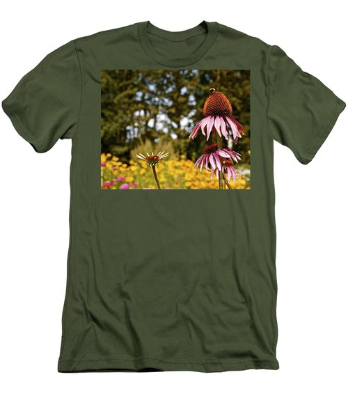 Echinacea With Bee Men's T-Shirt (Slim Fit) by Linda Bianic