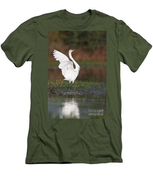 Egret Dancing Men's T-Shirt (Athletic Fit)
