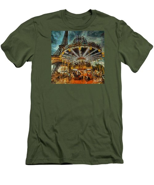 Men's T-Shirt (Slim Fit) featuring the painting Eiffel Tower Carousel by Dragica  Micki Fortuna