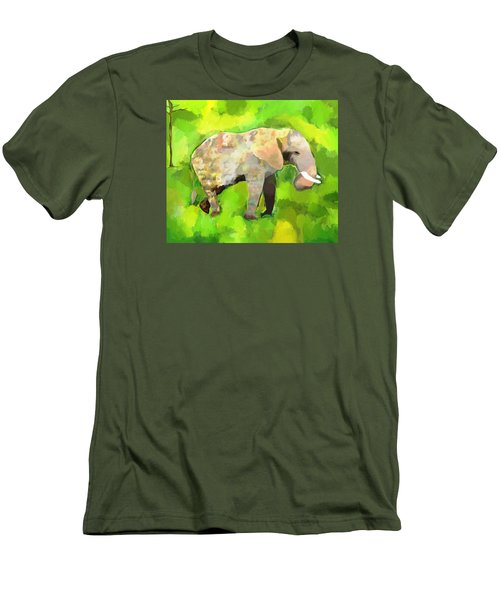 Men's T-Shirt (Slim Fit) featuring the painting Elephant 4 by Jeanne Fischer