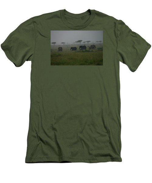 Elephants In Heavy Rain Men's T-Shirt (Slim Fit) by Menachem Ganon