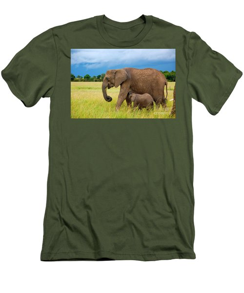 Elephants In Masai Mara Men's T-Shirt (Athletic Fit)