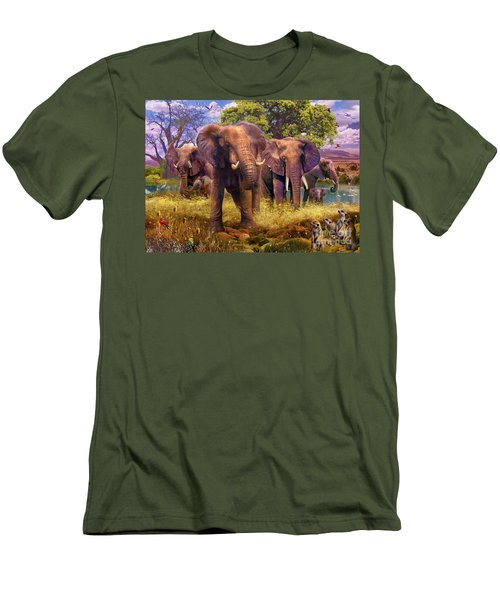 Elephants Men's T-Shirt (Slim Fit) by Jan Patrik Krasny