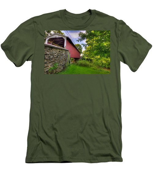 Men's T-Shirt (Slim Fit) featuring the photograph Eshelman's Mill Covered Bridge by Jim Thompson