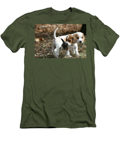 Exploring Beagle Pups Men's T-Shirt (Slim Fit)