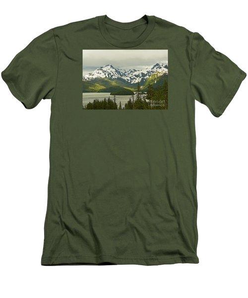 Eyak Lake Landscape Men's T-Shirt (Slim Fit) by Nick  Boren