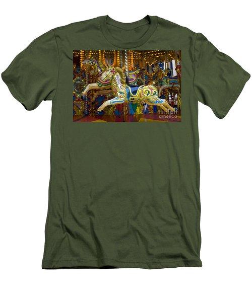 Men's T-Shirt (Slim Fit) featuring the photograph Fairground Carousel by Lee Avison