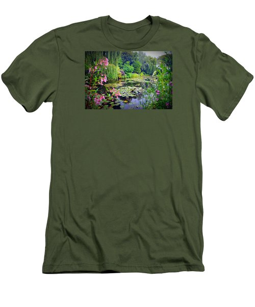 Fairy Tale Pond With Water Lilies And Willow Trees Men's T-Shirt (Slim Fit) by Carla Parris