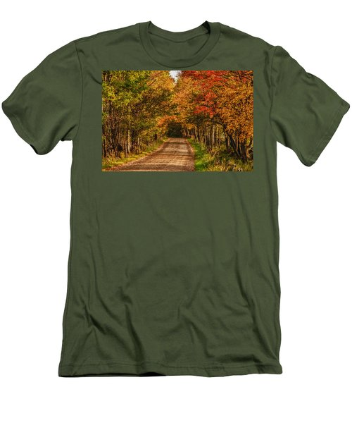 Men's T-Shirt (Slim Fit) featuring the photograph Fall Color Along A Dirt Backroad by Jeff Folger