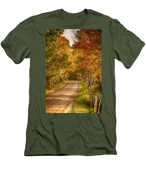 Men's T-Shirt (Slim Fit) featuring the photograph Fall Color Along A Peacham Vermont Backroad by Jeff Folger