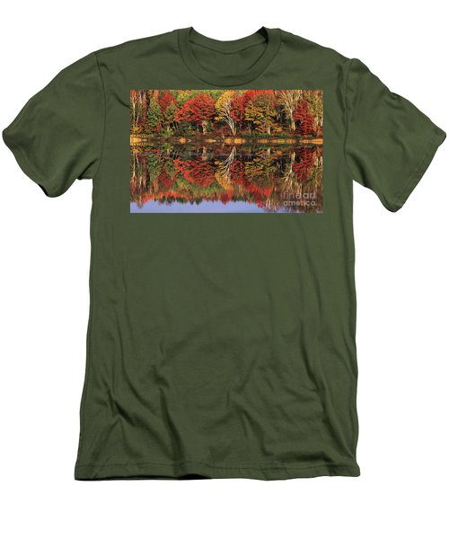 Men's T-Shirt (Slim Fit) featuring the photograph Fall Color Reflected In Thornton Lake Michigan by Dave Welling