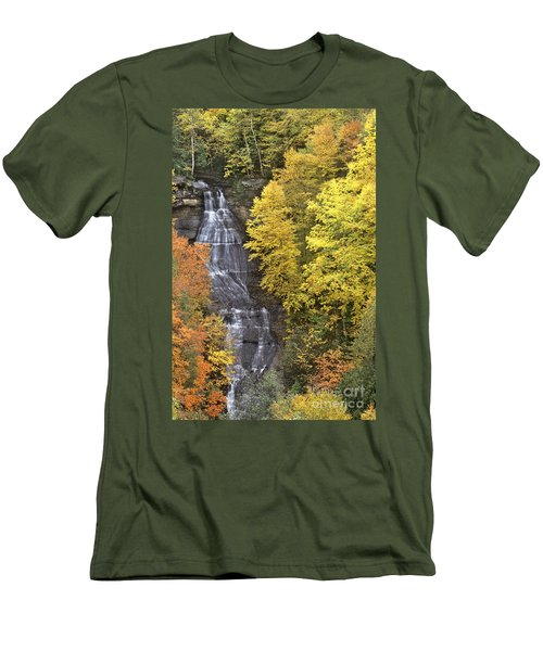 Men's T-Shirt (Slim Fit) featuring the photograph Fall Color Surrounds Chapel Falls On The Michigan Upper Peninsula by Dave Welling