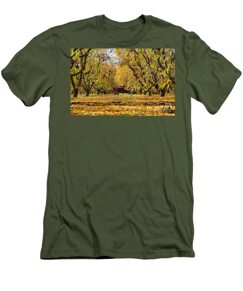 Fall In The Peach Orchard Men's T-Shirt (Slim Fit) by Jim And Emily Bush
