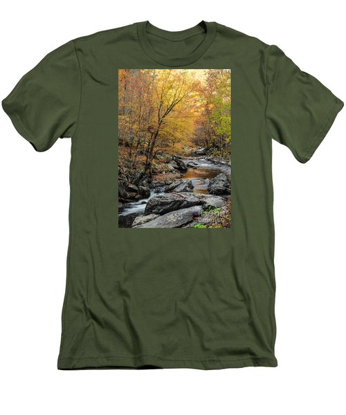 Men's T-Shirt (Slim Fit) featuring the photograph Fall Mountain Stream by Debbie Green