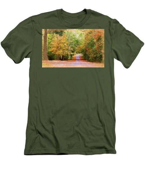 Men's T-Shirt (Slim Fit) featuring the photograph Fall Pathway by Judy Vincent