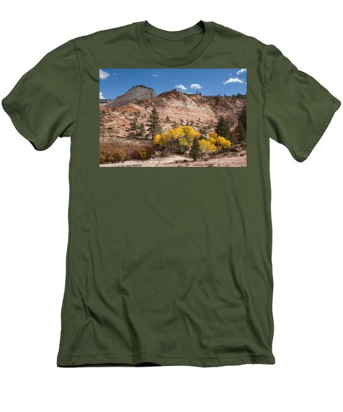Men's T-Shirt (Slim Fit) featuring the photograph Fall Season At Zion National Park by John M Bailey
