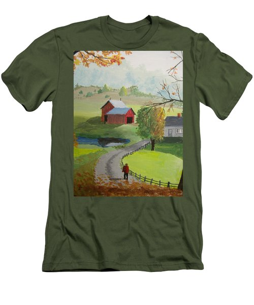 Men's T-Shirt (Slim Fit) featuring the painting Fall Walk by Norm Starks