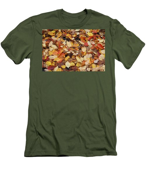 Men's T-Shirt (Slim Fit) featuring the photograph Fallen Leaves by Dora Sofia Caputo Photographic Art and Design