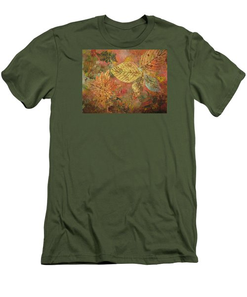 Men's T-Shirt (Slim Fit) featuring the painting Fallen Leaves II by Ellen Levinson