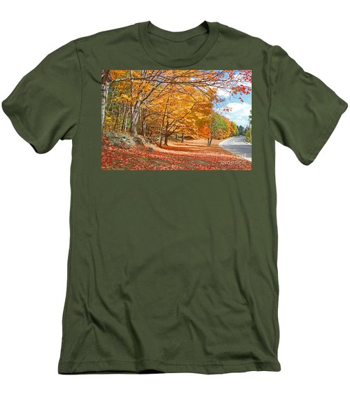 Falling Leaves On The Road To Bentley Men's T-Shirt (Slim Fit) by Rita Brown