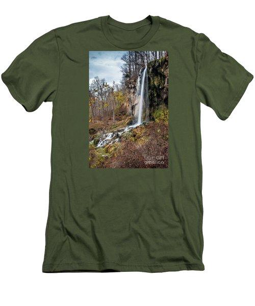 Falling Springs Fall Men's T-Shirt (Slim Fit) by Debbie Green