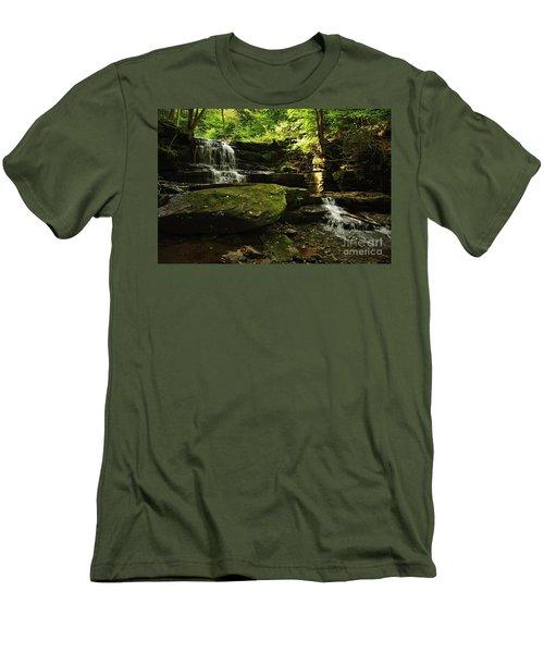 Men's T-Shirt (Slim Fit) featuring the photograph Fallsbrook Falls by Debra Fedchin