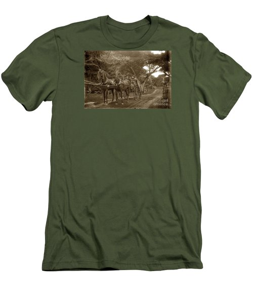 Family Out Carriage Ride On The 17 Mile Drive In Pebble Beach Circa 1895 Men's T-Shirt (Slim Fit) by California Views Mr Pat Hathaway Archives