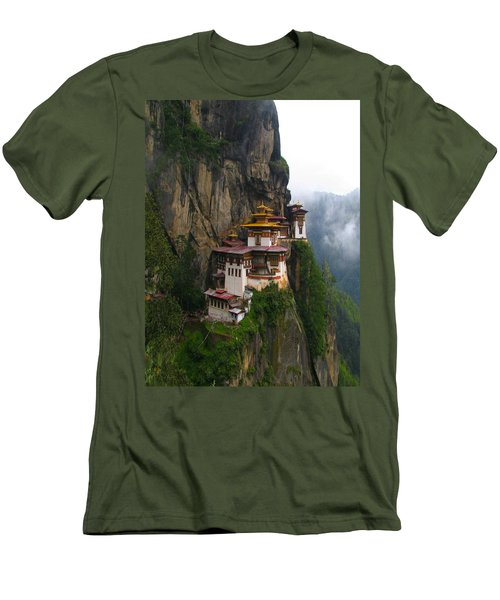 Famous Tigers Nest Monastery Of Bhutan Men's T-Shirt (Slim Fit) by Lanjee Chee