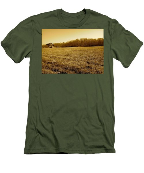 Men's T-Shirt (Slim Fit) featuring the photograph Farm Field With Old Barn In Sepia by Amazing Photographs AKA Christian Wilson