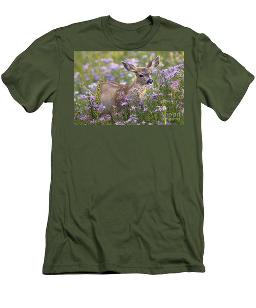 Fawn In Asters Men's T-Shirt (Slim Fit) by Sonya Lang