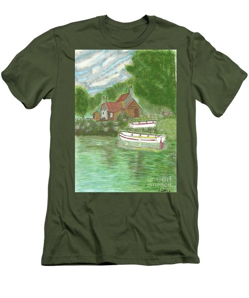 Men's T-Shirt (Slim Fit) featuring the painting Ferryman's Cottage by Tracey Williams