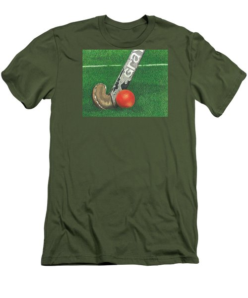 Men's T-Shirt (Slim Fit) featuring the drawing Field Hockey by Troy Levesque