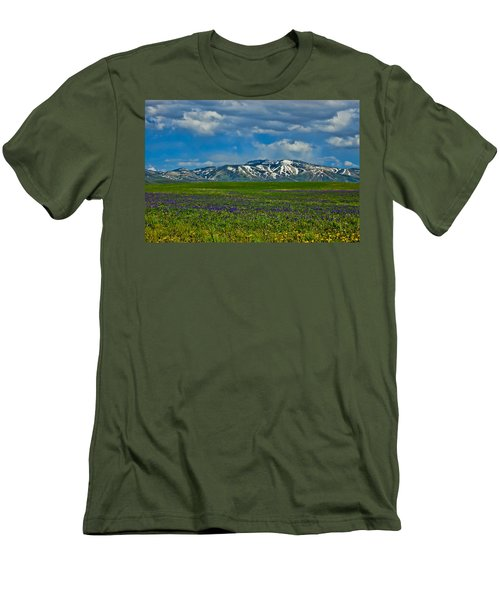 Men's T-Shirt (Slim Fit) featuring the photograph Field Of Wildflowers by Don Schwartz