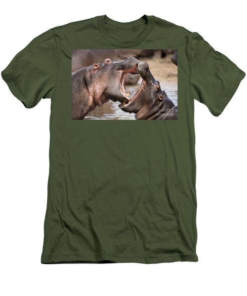 Fighting Hippos Men's T-Shirt (Slim Fit) by Richard Garvey-Williams