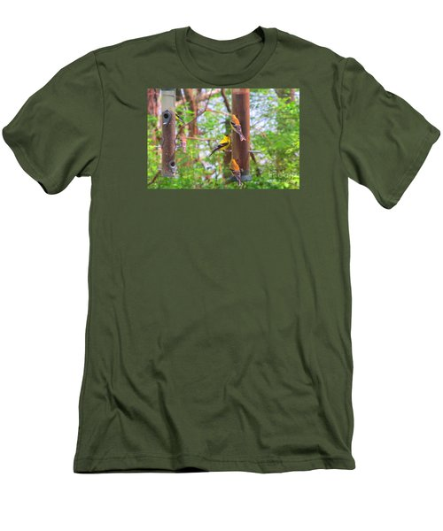 Men's T-Shirt (Slim Fit) featuring the photograph Finches Enjoying Their Snack by Tina M Wenger