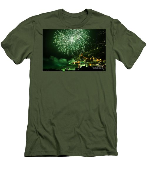 Men's T-Shirt (Slim Fit) featuring the photograph Fireworks Hdr by Antonio Scarpi