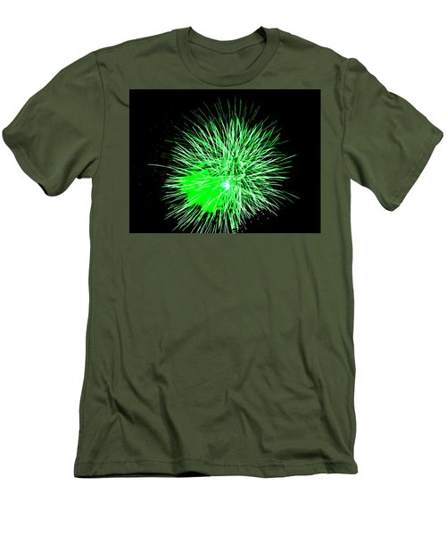 Fireworks In Green Men's T-Shirt (Slim Fit) by Michael Porchik