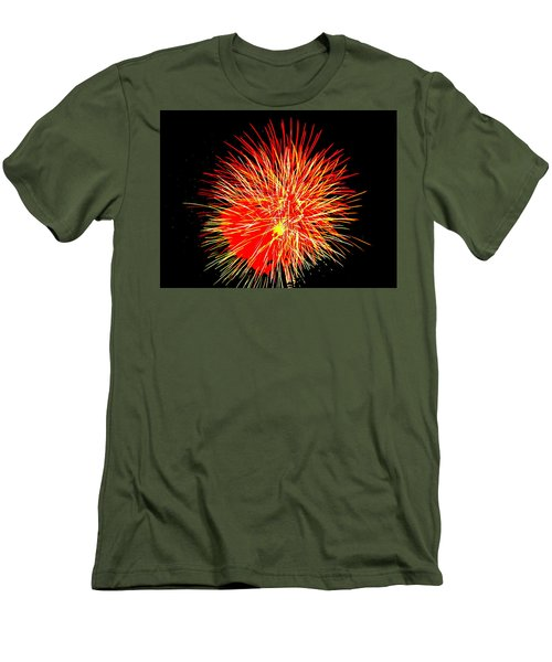 Fireworks In Red And Yellow Men's T-Shirt (Slim Fit) by Michael Porchik
