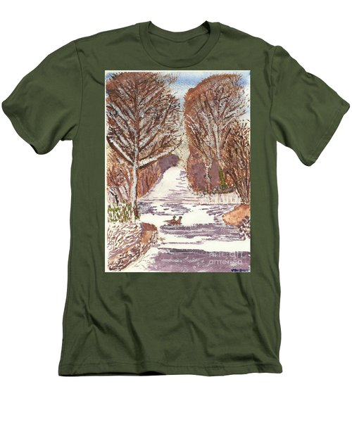 Men's T-Shirt (Slim Fit) featuring the painting First Footprints by Tracey Williams
