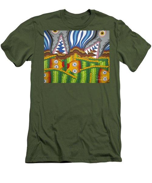 Fish Dinner Men's T-Shirt (Slim Fit) by Rojax Art