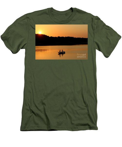 Men's T-Shirt (Slim Fit) featuring the photograph Fishing Silhouette  by Kathy  White