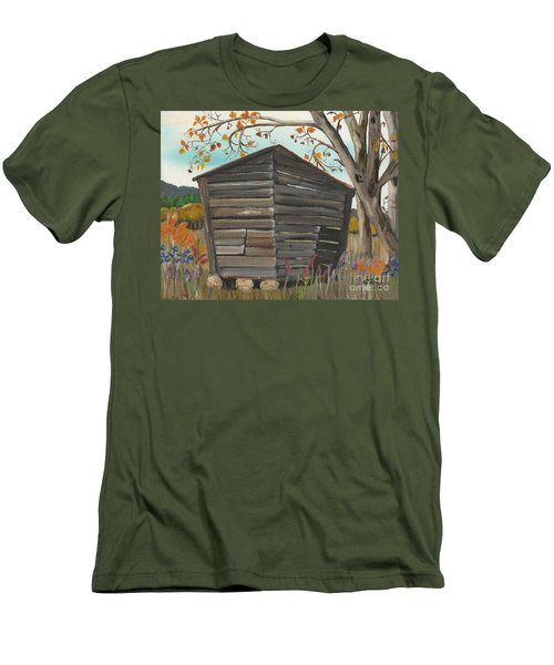 Men's T-Shirt (Slim Fit) featuring the painting Autumn - Shack - Woodshed by Jan Dappen